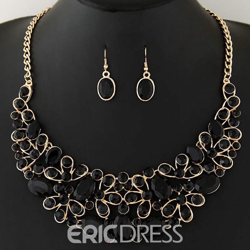 Ericdress Full Ellipse Imitation Gemstones Inlaid Jewelry Set