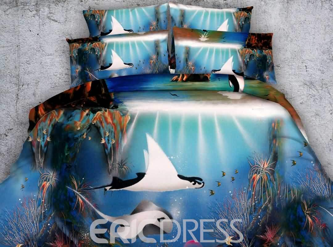 Stunning Tropical Fish Printed 4-Piece 3D Bedding Sets/Duvet Covers