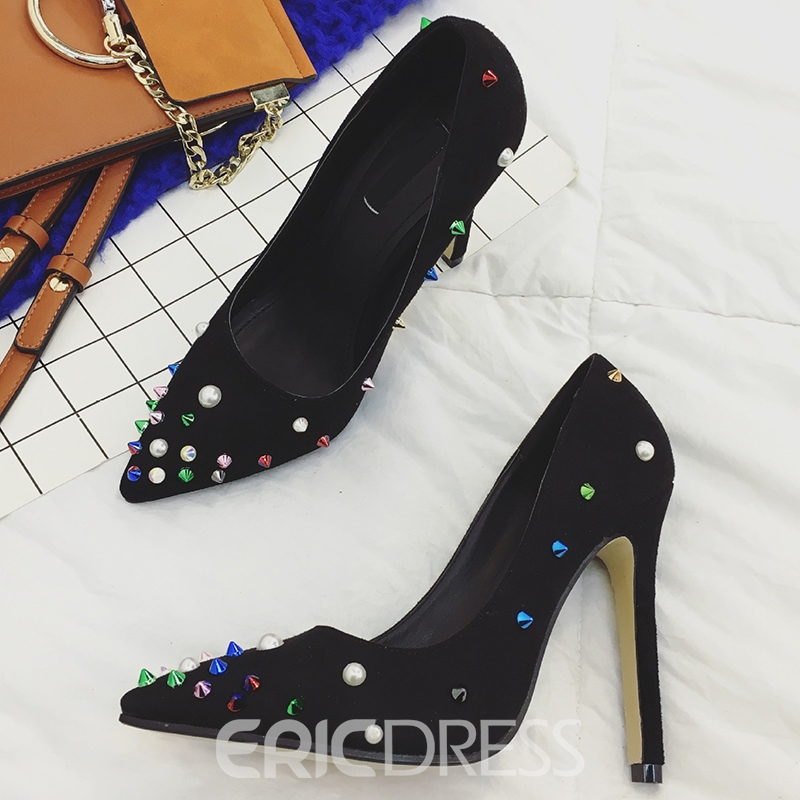 Ericdress Suede Rivets Decorated Point Toe Pumps