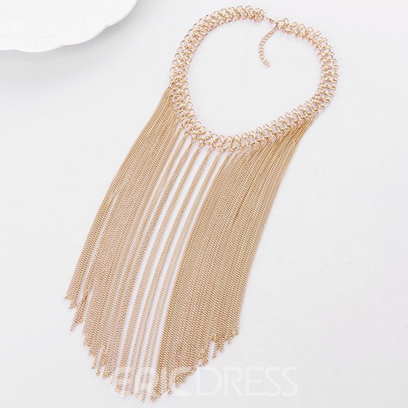 Ericdress Multilayer Metal Chain Tassels Necklace
