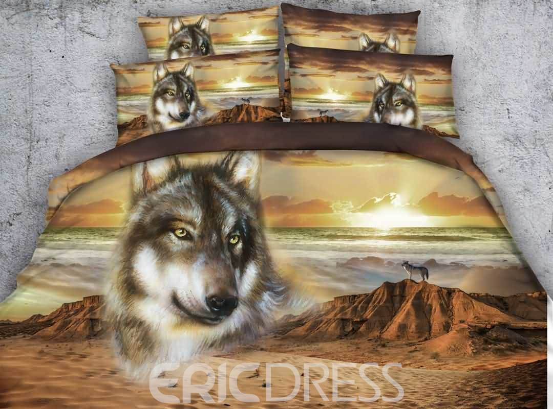 Vivilinen 3D Wolf and Mountain Printed Cotton 4-Piece Bedding Sets/Duvet Covers