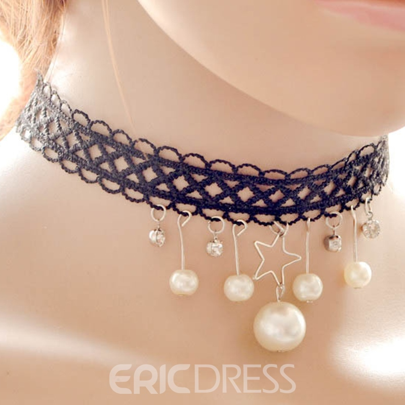 Ericdress Stars & Pearls Pendant Black Lace Necklace