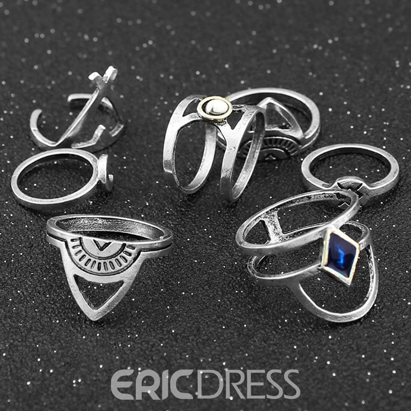 Ericdress Seven-Pieces Alloy Moon & Geometry Ring Set