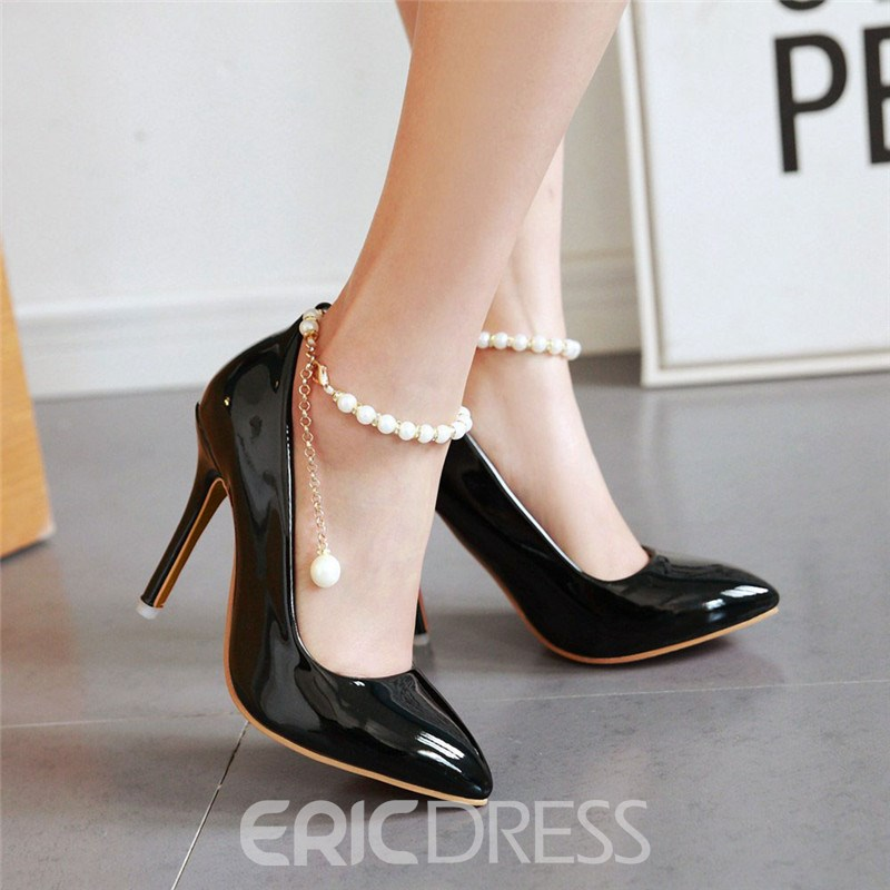 Ericdress Patent Leather Pearl Ankle Strap Prom Shoes