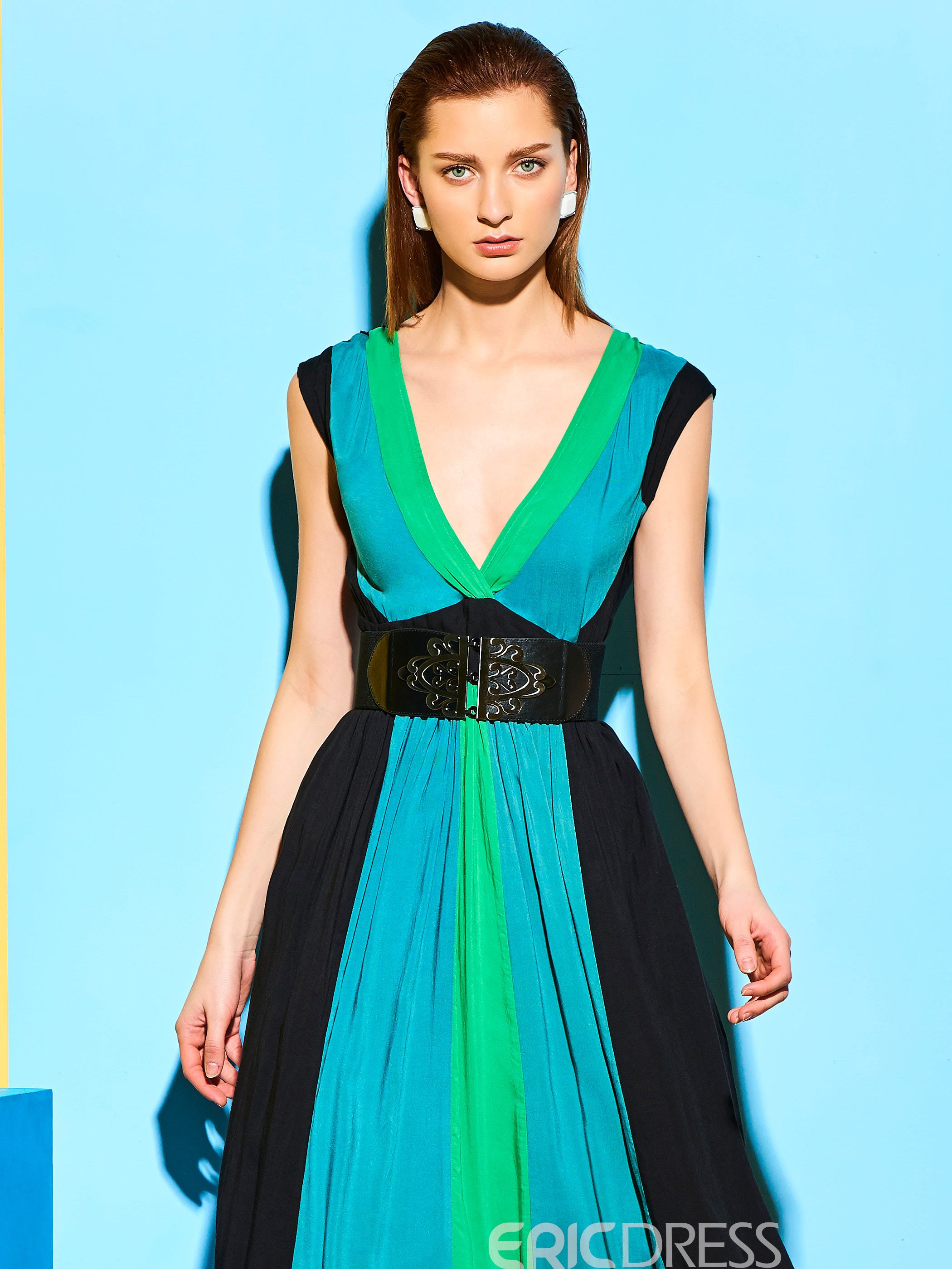 Ericdress Color Block Patchwork V-Neck Maxi Dress