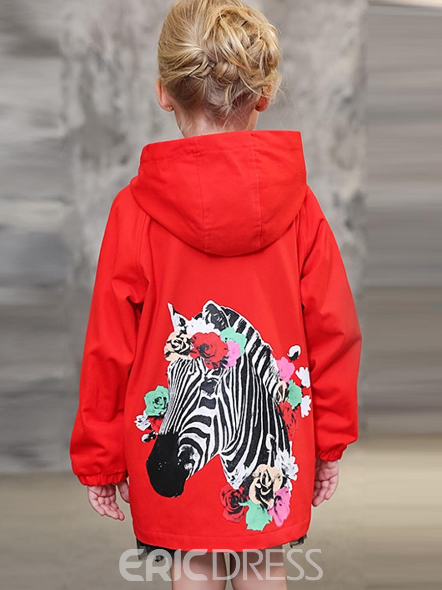 Ericdress Back Zebra Printed Hooded Girls Trench Coat