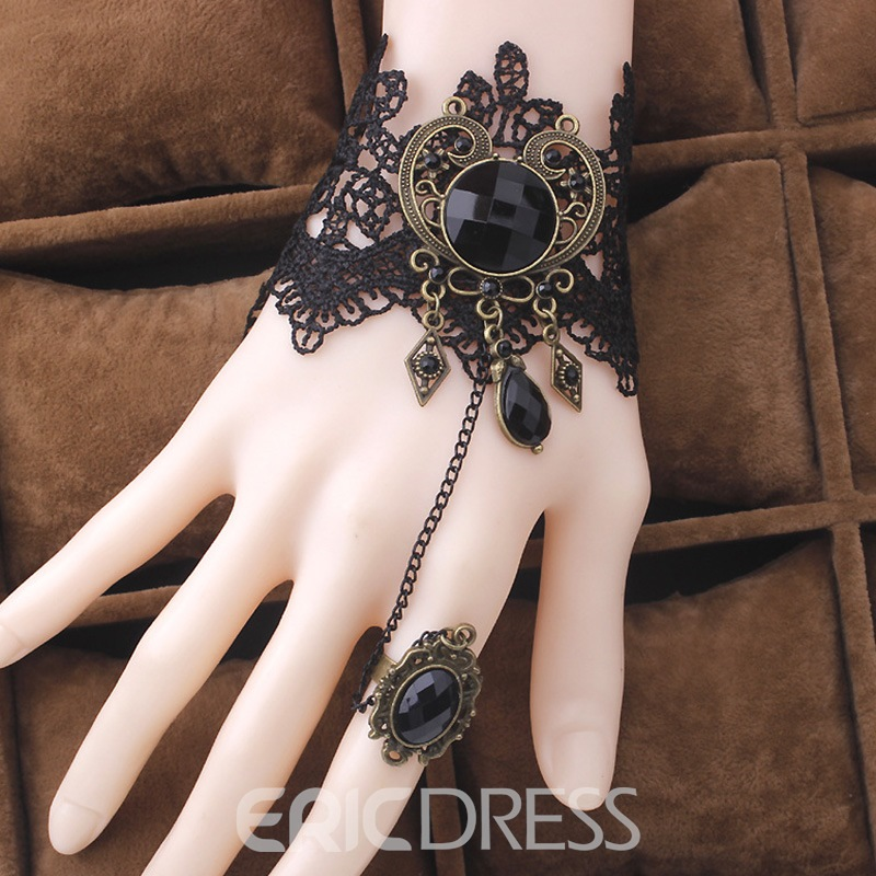 Ericdress Vintage Style Black Lace Bracelet with Ring