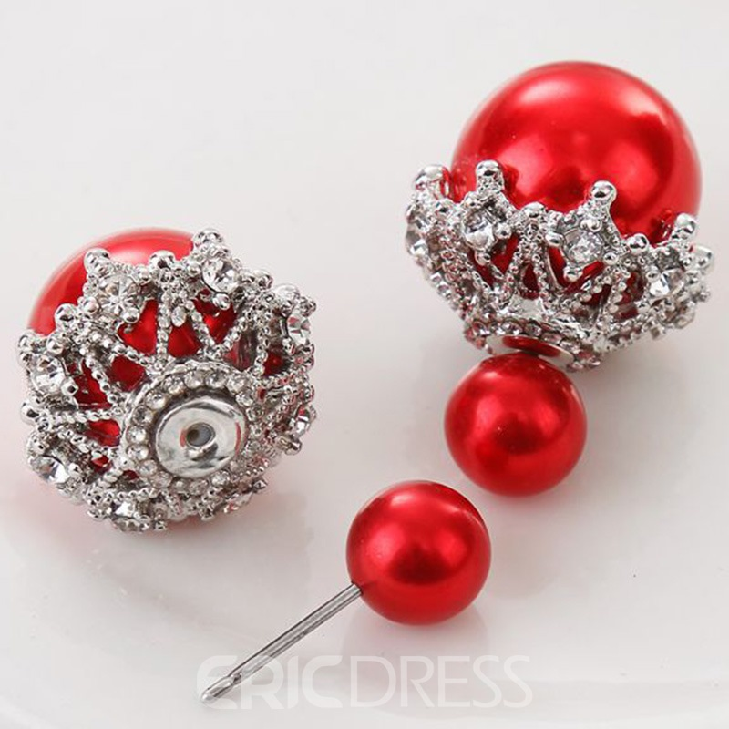 Ericdress Two-Sided Pearls Diamante Stud Earrings