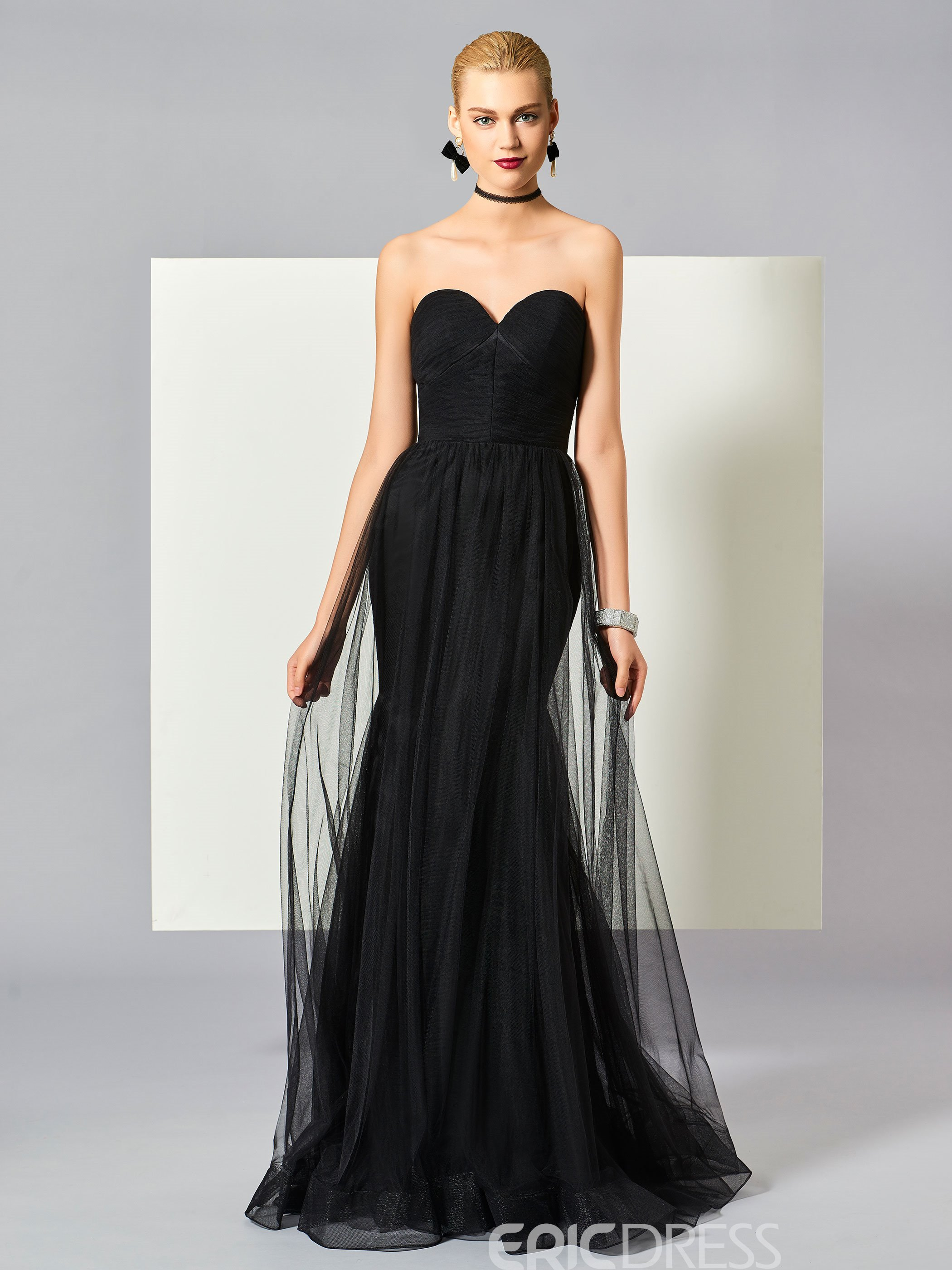 38812192b3a4ce Ericdress Sexy Black Sweetheart Zipper-Up Floor Length Mermaid Evening Dress