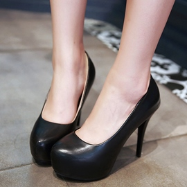 Ericdress Chic Patent Leather Round Toe Pumps