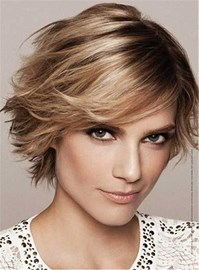 Ericdress Feathered Pixie Haircut Short Straight Lob Synthetic Hair Capless Wig 10 Inches