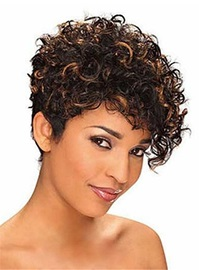 Mixed-Color Kinky Curly Short Synthetic Hair Capless Wigs 10 Inches