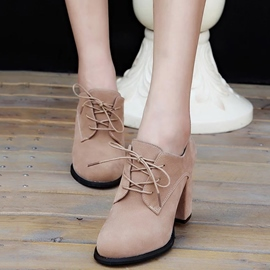 Ericdress Suede Lace up Chunky Heel Boots