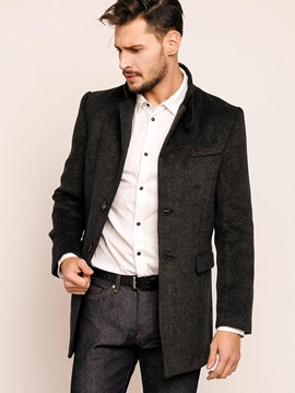 Ericdress Plain Double-Breasted Vogue Men's Coat