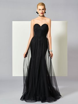 Ericdress Sexy Black Sweetheart Zipper-Up Floor Length Mermaid Evening Dress