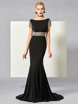 Ericdress Elegant Short Sleeve Beaded Mermaid Evening Dress With Court Train
