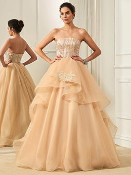 Ericdress Charming Strapless Lace Ball Gown Wedding Dress