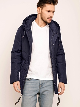 Plain Drawstring Hooded Men's Down Jacket