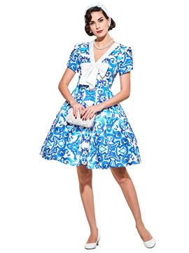 Ericdress Round Vintage Print Neck Short Sleeve A Line Dress