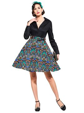 Ericdress V-Neck Long Sleeve A-Line Vintage Dress
