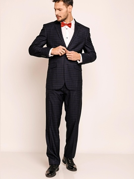 Plaid Notched Lapel Men's Suits