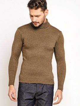 Ericdress Plain Pullover Slim Turtleneck Men's Sweater