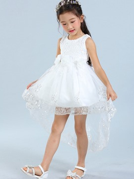 Ericdress Lace Floral Sleeveless Swallowtail Girls Dress