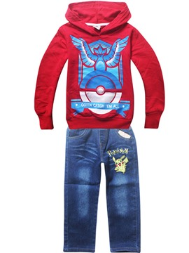 Ericdress Pokemon Hoodie Denim Pants Boys Outfit