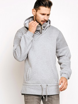 Ericdress Vogue Zip Patchwork Plain Hooded Pullover Men's Hoodie