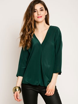 Ericdress V-Neck Chiffon Blouse