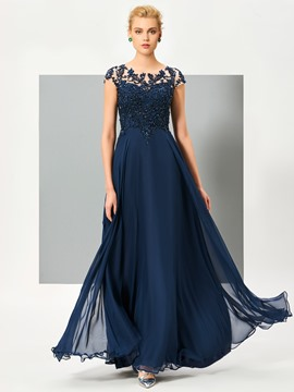 Ericdress A Line Cap Sleeve Beaded Chiffon Long Evening Dress