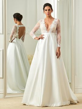 Ericdress V Neck A Line Long Sleeves Backless Wedding Dress