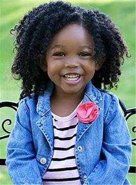 Ericdress Kinky Curly Short Human Hair Lace Front Cap Wigs 10 Inches For Kids