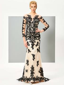 Ericdress Long Sleeve Lace Applique Floor Length Mermaid Evening Dress
