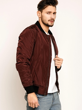 Stand Collar Plain Men's Jacket