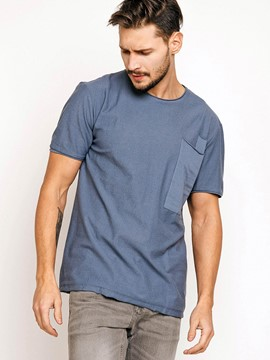 Ericdress Plain Pocket Patchwork Short Sleeve Men's T-Shirt