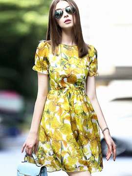 Ericdress Silk Vibrant Color Print Short Sleeve Casual Dress