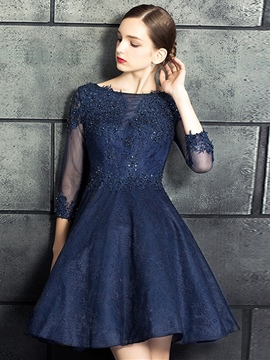 Ericdress A-Line 3/4 Sleeve Applique Beaded Lace Prom Dress