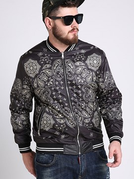 Ericdress Plus Size Zip Vogue Casual Print Men's Jacket
