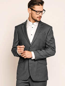Plain Notched Lapel Men's Suits