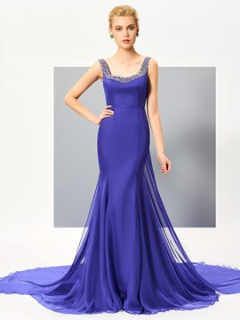 Ericdress Stunning Sheath Straps Sleeveless Beaded Evening Dress With Court Train