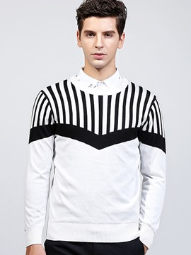 Ericdress Stripe Jacquard Crew Neck Men's Sweater