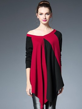 Ericdress Color Block Pleated Irregular Knitwear