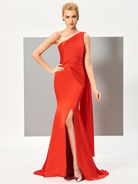 Ericdress Fancy One Shoulder Slit Front Floor Length Evening Dress