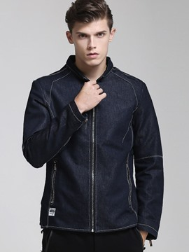 Ericdress Solid Color Denim Slim Men's Jacket