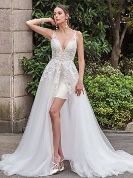 Ericdress Sexy V Neck Appliques A Line Backless Wedding Dress
