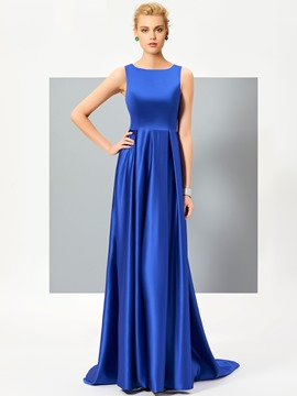 Ericdress A Line Sleeveless Satin Lace Back Court Train Evening Dress
