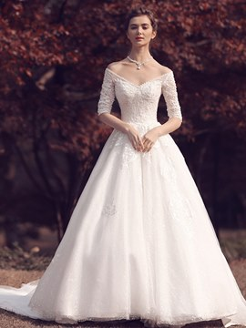 Ericdress V Neck Beaded Half Sleeves A Line Wedding Dress