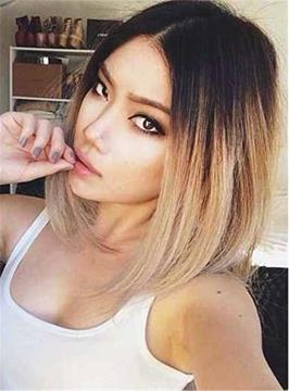 Ericdress Dark Root Medium Straight Ombre Synthetic Hair Lace Front Cap Wigs 14 Inches