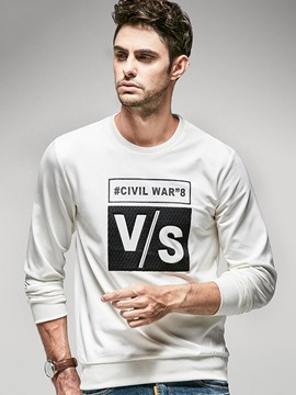 Ericdress Vogue Print Crew Neck Pullover Long Sleeve Men's T-Shirt
